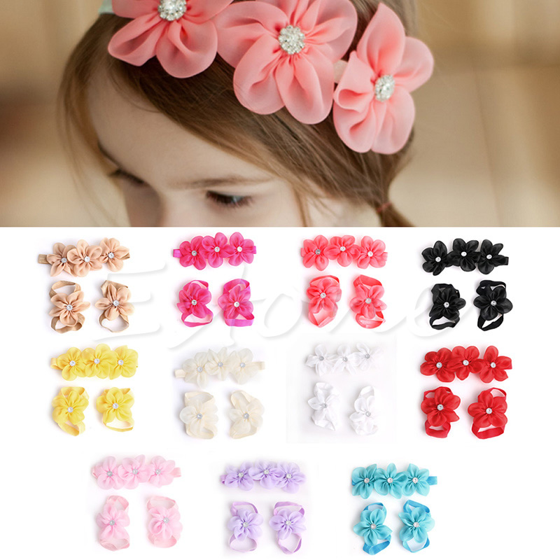 Newborn Baby Girl Kids Infant Headband Crystal Foot Flower Hair Band Accessor ES