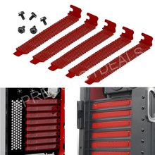 5pcs Red Color PCI Slot Cover Dust Filter Blanking Plate Hard Steelw/screws