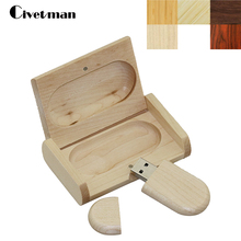 Civetman Original Wooden USB With Box Pen Drive 8GB 16GB 32GB 64GB Usb Flash Drive Bulk USB 2.0 Memory Stick Personalizado Gifts(China)