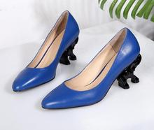 Buy Fashion Blue Smooth Leather Women Pointy Toe Pumps Cute Elephant Heel Ladies Slip High Heels 2018 Sexy Party Shoes Dress Shoe for $91.20 in AliExpress store