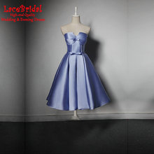Sexy Real Lavender Sweetheart Satin Cocktail Dresses 2017 Tea-Length Featuring Curved Bra Party Prom Gowns robe de cocktail H26