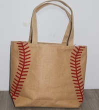 2017 Baseball Softball Tote Bag 4 colors for jewelry  Softball baseball white stitching bags baseball women Cotton Canvas bag