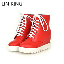 LIN KING New Arrival Women Casual Shoes Lace Up Wedge Heels Martin Boots Platform Flats Spring/Autumn Simple Design Booties