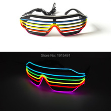 Cheap!Flexible EL wire Shutter Sunglasses Holiday Lighting Cosplay Movie Party Supplies Led Neon Flickering Eyewear with Driver