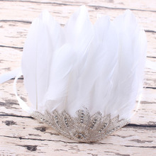 1pc Boutique White Feathered bordado Sequins diamante crown Bow Applique Headband Perfect / mom Photo Prop YM6114(China)