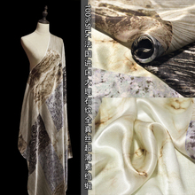 Marble pattern ultra-thin silk crepe satin fabric high-grade shawl scarf special long dress shirt clothes