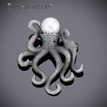 IYOE Antique Plated Unique Octopus Brooches Retro Style Simulated Pearl Brooch Pins Ladies Fashion Scarf Jewelry Accessories