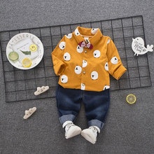 Cotton Infant Baby Boy Set Blouse+Denim Pant Child Kids Boy Clothing Infant Baby Boy Clothes Spring Outfit Sport Suit set 0-3T(China)