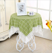 [WIT] 85*85cm Cotton Table Cloth Plaid Lace Table Clothes Rectangular Universal Cover Cloth European Dinning Table Clothes Lace(China)