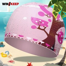 Child Pink Flower Printed Swimming Caps For Girls Boys Comfort Breathable Swimming Pool Cap Waterproof Ear Protection Hats(China)