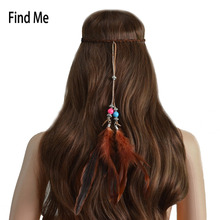 Find Me Vintage Bohemia Feather Long Tassel Headbands Women 2017 Fashion Brand Ethnic Beads Hair Jewelry Rope Chain Hair Band
