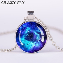 CRAZY FLY Glass Cabochon Starry Sky Charm Necklaces Pendants Fashion Wholesale Silver Color Chain Necklace(China)