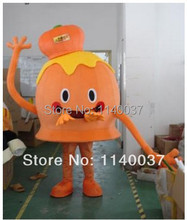 mascot Orange Corporate Image Mascot Costume with Helmet & Mini Fan Adult Size Mascotte Outfit Suit EMS FREE SHIP(China)