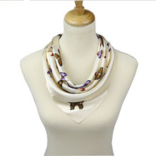 Women Small Silk Cravat Printed Fashion Beige Butterfly Pattern Square 40% Silk Scarves Europe America Style 60*60cm A20(China)