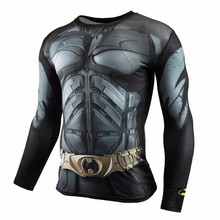 Marvel Gyms Clothing Fitness Compression Shirt Men Batman t-shirt men Long Sleeve 3D t shirt men Crossfit Tops tee shirt homme(China)