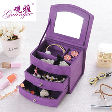 Hot Sell High Quality Velvet Three Layers Portable Multi-functional Necklace Rings etc Jewelry Boxes Gifts Box Free Shipping