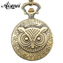 Korean version of sweater chain necklace retro green bronze owl pocket watch necklace hanging small Pocket watch gift 5pcs/lot