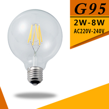 Led Filament Bulb G95 Big light bulb 2W 4W 6W 8W filament led bulb E27 clear glass indoor lighting lamp AC220V Led Edison Bulb