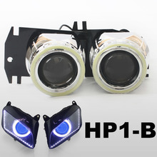 KT Headlight Fits for Honda CBR600RR 2007-2012 LED Angel Eyes Blue Demon Eyes Motorcycle HID Bi-xenon Projector Lens 08 09 10 11(China)