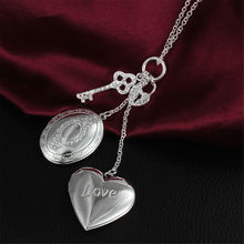 Heart Lock Key Double Photo Frame Rhinestone Long Necklace Plated Chain 925 Sterling Silver Pendant Jewelry Women Christmas Gift