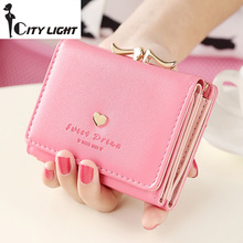 2016 new fashion women wallets rivet love short design three fold small wallet lady wallet coin purse(China)