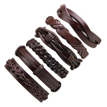 1set/6pcs Vintage Leather Bracelets For Women Punk Bible Leather Bracelet & Bangle Male Wristband Wrap Men Jewelry(China)