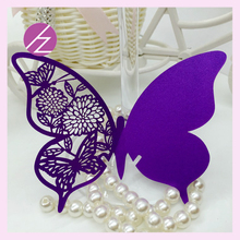 100Pcs/set Dark Purple Wedding Supplies Butterfly Name Place Card Holder Wedding Party Table Wine Glass Decoration Party Card