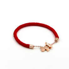 Hot Sale Puppy Dog Red Rope Rose Gold Color Stainless Steel Bracelets(China)