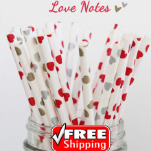 150pcs Mixed 3 Designs LOVE NOTES Valentine Paper Straws, Gold, Silver and Red Heart Printed, Party Supplies Decorations