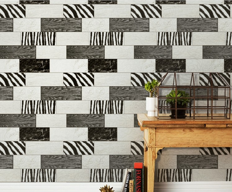 Vintage Black and White Zebra Mural Wallpapers roll Vinyl Waterproof 10m<br>