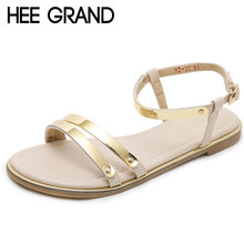HEE GRAND Gold Summer Glitters Sandals Platform Shoes Woman Casual Flats  Beach Women Shoes Bling Creepers 7f5049aa49b1
