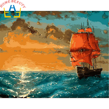 HOME BEAUTY 40x50cm picture paint on canvas diy digital oil painting by numbers home decoration craft coloring sea boat E603(China)