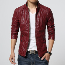 Leisure Higth Quality 2017 Design Men's Jackets Spring&Autumn PU Leather Black&Wine red Fashion Slim Solid Man's Jacket
