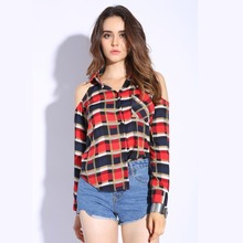 Red Plaid Shirt Women Tops Cotton Checked Blouses Lapel Long Sleeve Sexy Shirts Ladies Off The Shoulder Tops For Women 2017