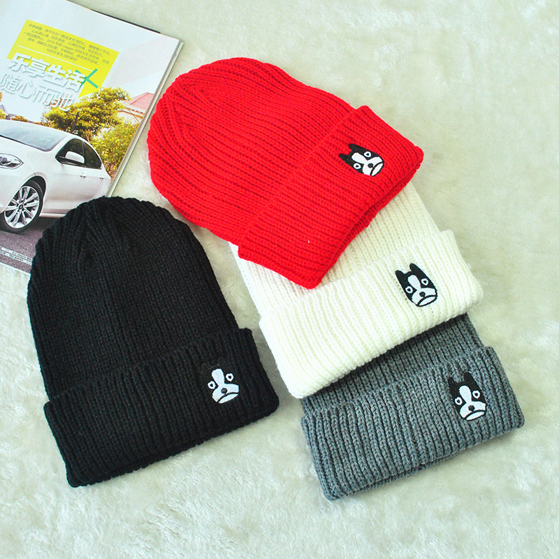 Fall/winter men and women the same hat, dog embroidery wool hats knitted hats Korean wave fashion warm winter HatÎäåæäà è àêñåññóàðû<br><br><br>Aliexpress