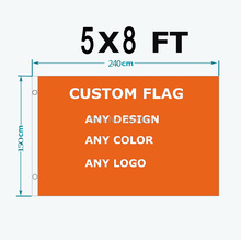 Custom Flag Any Size Brand Company Logo Flag 5X8FT Banner 150X240cm any color brass grommets,free shipping(China)