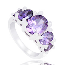 SHUANGR Fashion Purple Cubic Zirconia Crystal Around Wedding Ring For Women Purple Finger Jewelry For femme