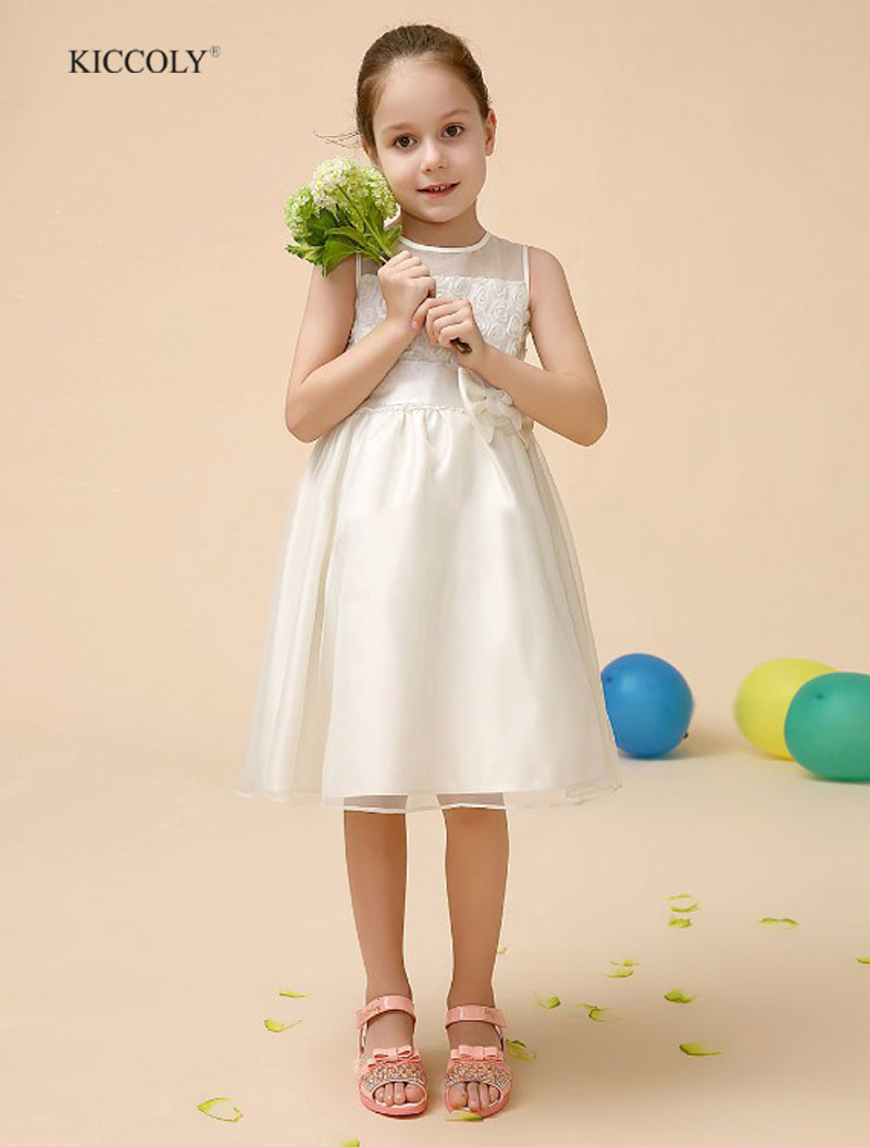 Girl Lace Princess Dress with Flower Bow Flower Girl Petals Dress Pageant Wedding Bridal Dress girls dresses for Child clothes<br>