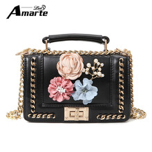 Buy Women Leather Handbags 2017 Luxury Designer Appliques Floral Handbags Female Chain Crossbody Bags Messenger Bag for $18.93 in AliExpress store