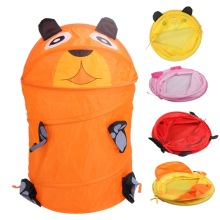 Toy Storage Box Folding Bucket Laundry Cylinder Basket for Toys Cute Cartoon Animal Beetle Frog Dog Toy Container Nylon Ties