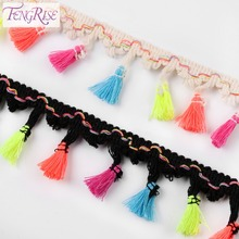 FENGRISE 4.5 cm Fringe Lace Trim 5 Yards DIY Lace Tassel Trim Ribbon Sewing Fabric For Home Garment Curtain Handmade Accessories(China)