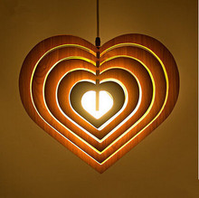 Modern Retro simple Personality Wooden Wood Cafe love Bar Restaurant Heart-shaped LED Hanging Fixture Pendant Lights Lamp(China)