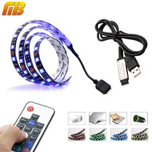 [MingBen] TV PC Background LED Strip Lighting 60LEDs/m DC 5V USB SMD5050 RGB With 17Key RF Controller 50cm 1m 2m Set 60Leds/M(China)