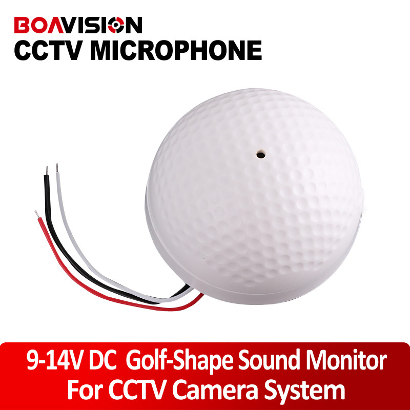 Dedicated preamplifier 9-14V DC power mini CCTV microphone Golf-Shape Sound Monitor microphone audio pick up for camera<br><br>Aliexpress