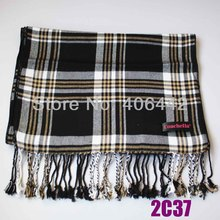 COACHELLA Black Gray Yellow Checked Plaid Grids Long Scarf With Long Fringe Viscose Soft  winter Scarf men/women Fashion Scarves