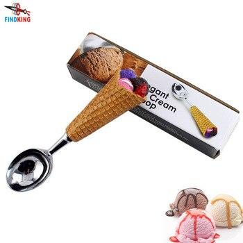 FINDKING 1 pcs  DIY Resin Handle Stainless Steel Ice Cream Spoon Ice cream spoon Ice cream stacks fruit Spoon