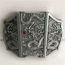 Retail New Style High quality 3D Silver Dragon lighter Belt Buckles With Metal Cowboy Belt Head Jewelry Fit 4cm Wideth Belt