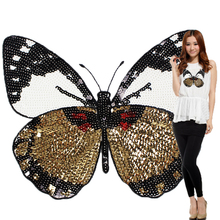 Fashion Large Butterfly Patch T-shirt Pants Sequins Ironning On Patch Sewing Holes Applique Clothes Accessories Decorative(China)