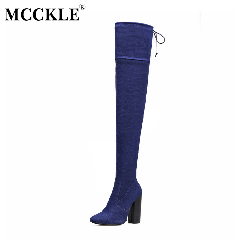 MCCKLE Ladies Slim Zip Denim Over The Knee Boots Womens Sexy Tight Stretch Fabric Thick Heel Style Fashion Thigh High Boots<br>
