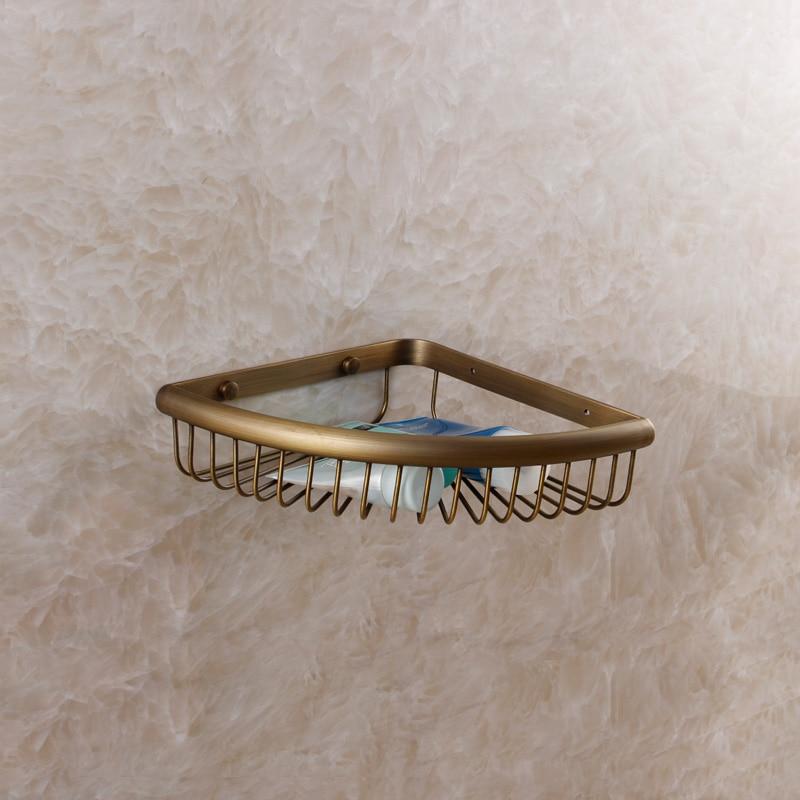 2015 New Real Banheiro Shelf For Bathroom Fashion Bathroom Brass Copper Trigonometric Antique Basket Wall Mounted Cosmetics Rack<br><br>Aliexpress